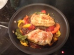 garlic chicken and roasted peppers