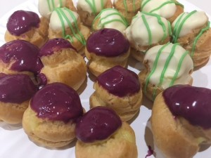 blueberry lemon and mango keylime profiteroles